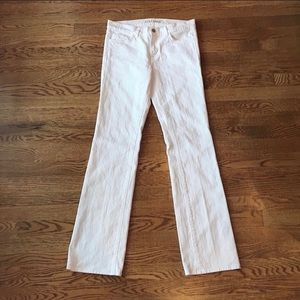 J Brand White Mid Rise Straight Leg Jeans